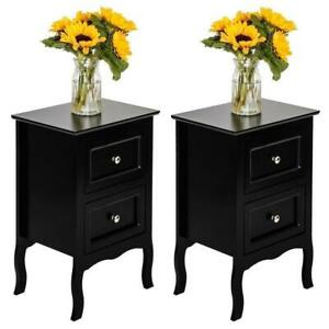 Set of 2 Nightstand Bedside End Table Shelf with Drawer Bedroom Furniture $79.99