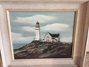 Patti Rock Lighthouse Oil Painting $225.00