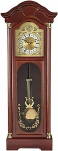 Bedford 33quot; Grandfather Chiming Pendulum Wall Clock in Antique Cherry Oak Finish