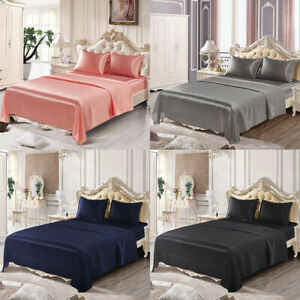 4 Piece Satin Silk Sheet Set Deep Pocket Fitted Bed Sheet Flat Sheet Pillowcases $25.99