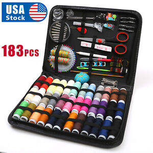 183Pc Sewing Kit Measure Scissor Thimble Thread Needle Storage Box Travel Set $15.98