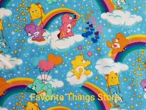 CAREBEARS RAINBOWS HEARTS OOP PRINT COTTON FABRIC 1 2 Yd L X 43quot;W NEW