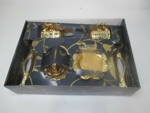 Lalezar Beautiful Gold Coffee Set Tray Sugar Container Saucer and Cups 4 Pcs
