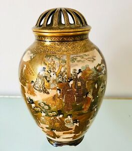 Museum Quality Antique Japanese Kinkozan Family Satsuma Vase