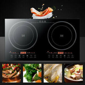 Double Induction Hob Touch Control Tabletop Ultra Thin Cooker LED 2400W
