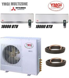 YMGI 2 Zone 36k BTU 2 ZONE Ductless Mini Split Air Conditioner Heat Pump MNSW