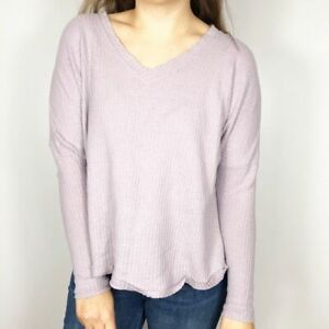 OUT FROM UNDER Womens Small Lavender V neck Oversized Thermal Waffle Knit Top $28.00