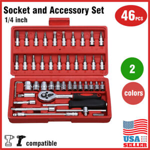 46 pcs 1 4 inch Drive Impact Socket wrench tool Set with drill adapter w Case $18.99