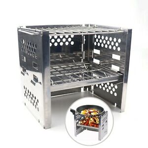 Wood Burning Stove Potable Folding Stainless Steel Camping Stove BBQ Camp Stoves
