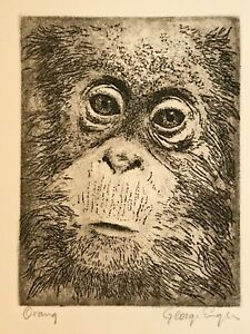 """Orangutan"" aquatint etching by George Engle signed amp; titled in pencil ""Orang"" $50.00"