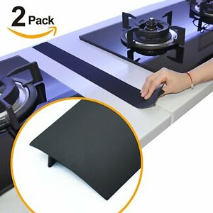 2Pack Silicone Kitchen Stove Gap Cover Oven Guard Spill Seal Slit Filler Black
