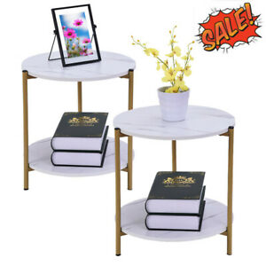 Round Nesting Set of 2 End Table Home Living Room Rustic White Coffee Side Table