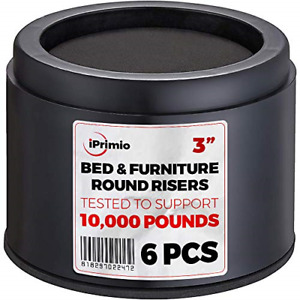 """iPrimio Bed and Furniture Risers – 6 Pack Black Round Elevator up to 3"""" amp; Lifts"""