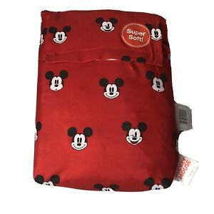 Disney Mickey Mouse Twin Fitted Flat Sheet Set Red New