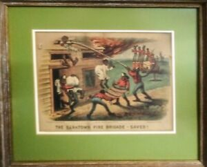 Currier and Ives Antique Colored Lithograph Print Darktown Fire Brigade $120.00