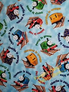 THOMAS THE TRAIN COLORS ON BLUE CLOUD NEW COTTON FABRIC CRAFTS QUILTS MASKS