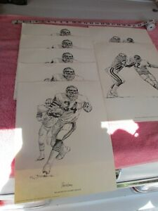 chicago bears vintage 1981 shell oil football posters lot of 7 $28.00