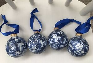 Chinoiserie Blue and White Decoupaged Ornaments Set of 4