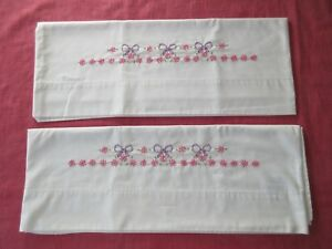"""NEW Standard Set of Embroidered Pillowcases 30.5""""x21"""""""