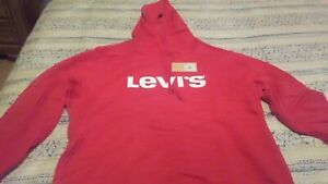 LEVIS SIZE XL BURNDLN LOGO GRAPHIC CRIMSON RED HOODIE $20.00
