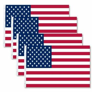 4 PACK 3x5 American Flags w Grommets USA United States of America USA Stars
