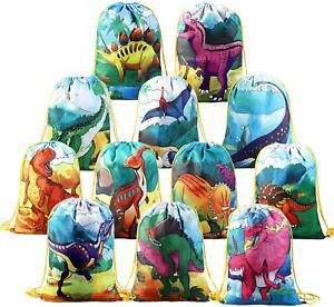 12 Pcs Dinosaur Drawstring Kids Party Favor Bags For Birthday Party Gift Package