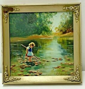 1952s Antique Oil Painting Little Girl Playing With Fish By The River 8quot; X 8quot; $79.99