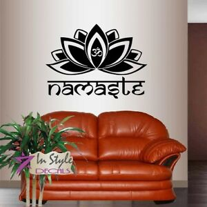 Wall Vinyl Namaste Beautiful Lotus Flower with Om Sign Yoga Wall Sticker 380