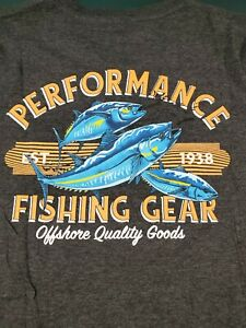 Columbia PFG New Charcoal Gray Long Sleeve Graphic T Shirt Medium FREE SHIP