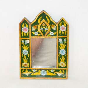 Mirror Antique On Base Wood Hand Painted 9 3 8x6 11 16in $16.41