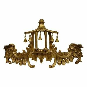 Amazing CHINOISERIE Chippendale Gold PAGODA BED CROWN Drapes Bells Made in US