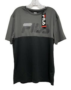 FILA Dry Fit Shirt Mens Size LARGE Black Gray Fitness Workout Athletic $40.00 $14.99