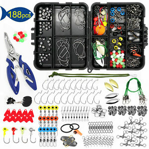 188X Fishing Accessories Kit Tackle Box Pliers Jig Hook Lure Parts Swivel Float