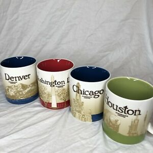 SET OF 4 Starbucks Collector Series Mugs. Denver Chicago Houston Washington DC