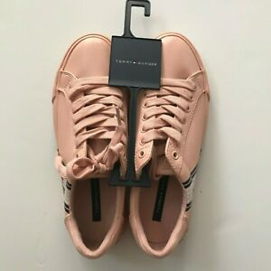 Tommy Hilfiger Women Pink Luster Sneaker Shoes Man Made Leather Sizes 5M 7M $32.99