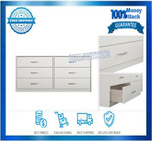 White 6 Drawer Dresser With Wall Anchor Kit Laminated Particleboard Indoor New