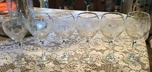 6 VTG Christmas Wine Goblets Winter White Frosted Gold Rim Libbey Glasses