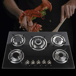 30quot; inches Gas Cooktop Built in 5 Burners Stove Hob Black Tempered Glass Cooker