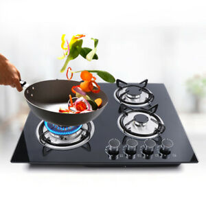 23quot; Tempered Glass Hob Built In 4 Burners Stove Tops LPG NG Gas Cooktop US Stock