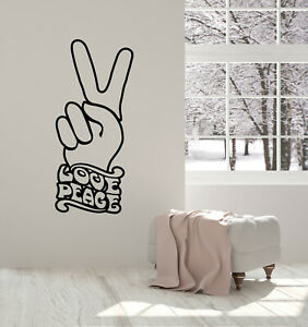 Vinyl Wall Decal Lettering Love Peace Fingers Living Room Stickers Mural g3730