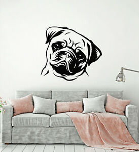 Vinyl Wall Decal Puppy Pug Dog Pet Store House Animal Stickers Mural g3731