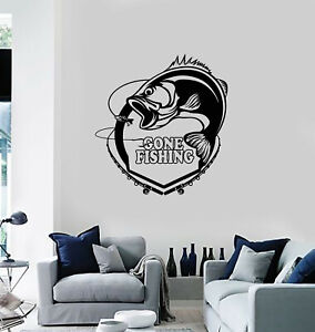 Vinyl Wall Decal Gone Fishing Rod Fish Hobby Man Decor Stickers Mural g3739