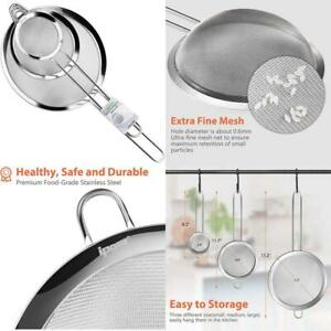 Ipow Set Of 3 Stainless Steel Fine Mesh Strainer Colander Sieve Sifters With Lo