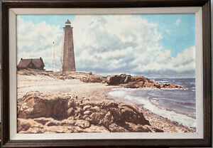 CONNECTICUT LIGHTHOUSE SIGNED OIL PAINTING LISTED ARTIST 12x18 $499.00