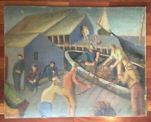 """Large 38""""x30"""" Antique Oil Painting WPA Listed Artist Abraham Levinson Ashcan $599.99"""
