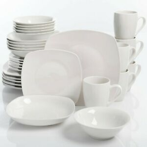30 Piece Porcelain Dinnerware Set Square Dinner Plates Dish Service For 6 White $45.25