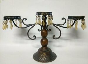 Candlestick Wooden Vintage Holder Candle Iron Primitive Ornate 4 decor home old $54.99