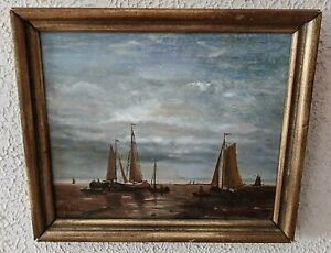 Antique Maritime Seascape Oil Painting Fishermen at Sea in Sailboats Signed Art $450.00