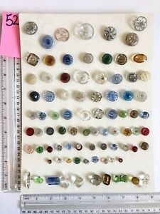#52 Lot of 83 Modern Glass 30s 40s Vintage Buttons Mixed Materials Mounted $45.00