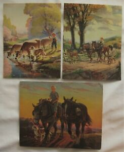 3 to FRAME circa 1950 Colorful FARM DAY LITHOGRAPHS of a BOY and His Chores $6.99